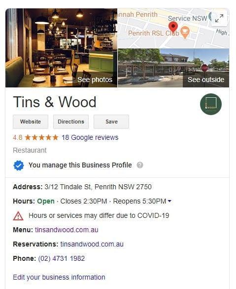 Tins & Wood website update on Google